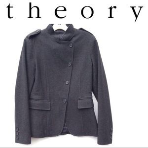 THEORY green wool Jacket 8 blazer military